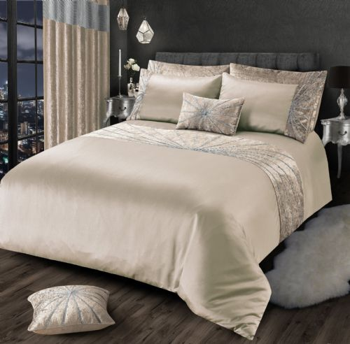 NATURAL CHAMPAGNE  CHIC SHIMMER GLAM DIAMANTE STAR CRUSHED VELVET LUXURY BEDDING LUXURY RANGE